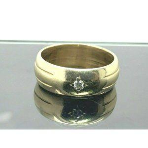 Statement Diamond Ring Wide 14k Yellow Gold Size 8